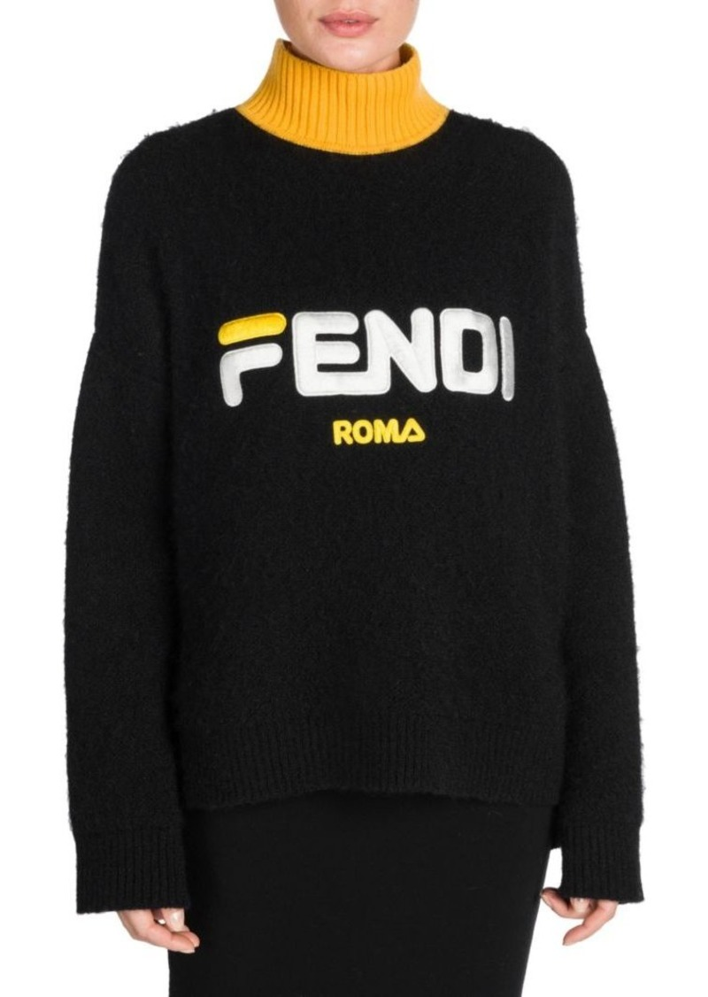 wholesale online factory select for official Fendi Fendi Mania Logo Mohair Turtleneck Sweater | Sweaters