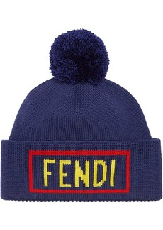 Fendi logo patch beanie hat