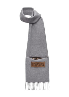 Fendi logo patch fringed scarf