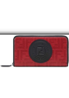 Fendi logo patch jacquard zip around wallet