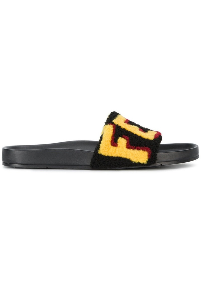 Fendi logo patch slider sandals