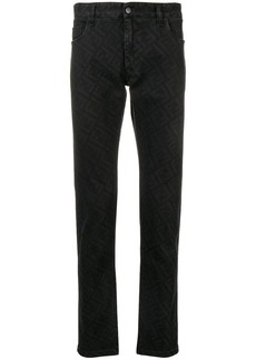 Fendi logo print fitted jeans