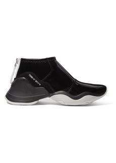 Fendi Logo-print Suede-trimmed Glossed-neoprene Sneakers