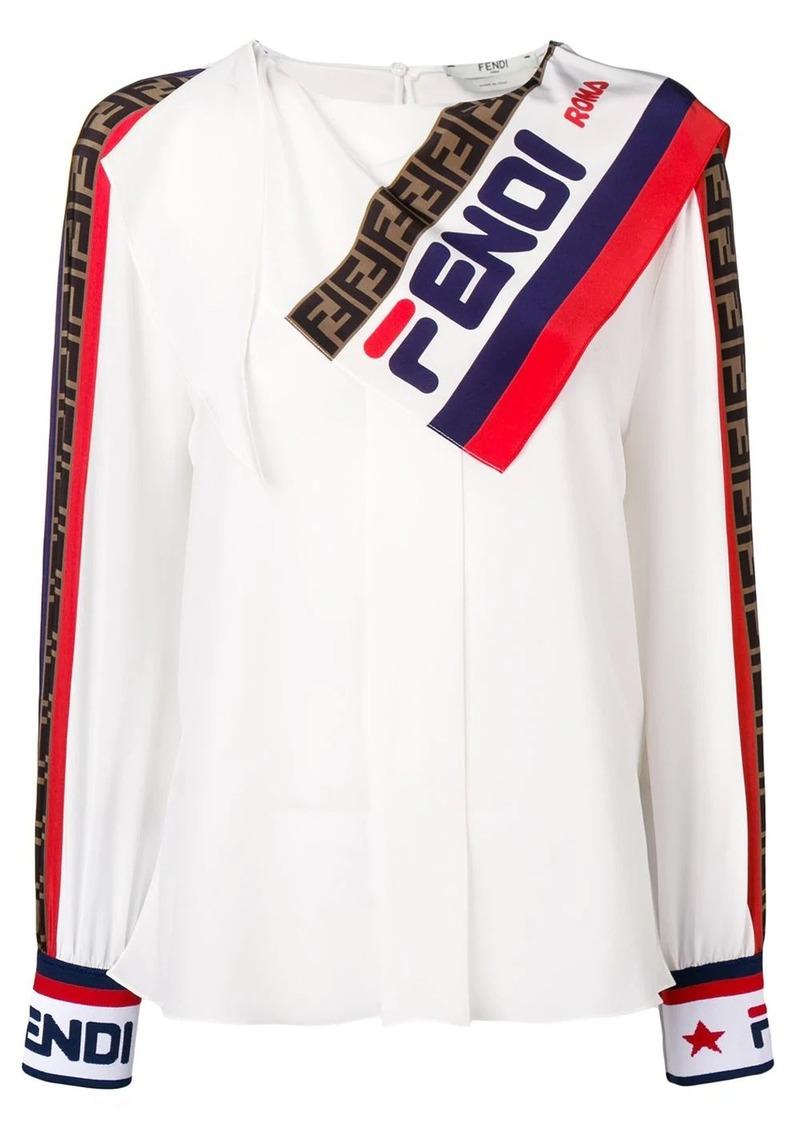 Fendi logo scarf blouse