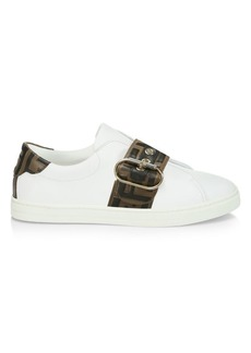 Fendi Logo Strap Leather Sneakers
