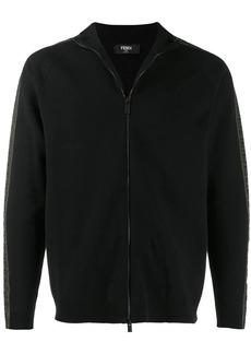 Fendi logo-stripe zipped cardigan