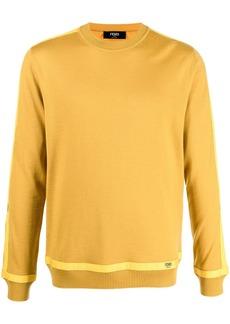 Fendi logo-tape crew-neck jumper