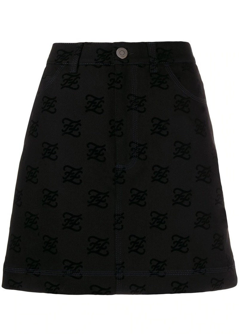 Fendi logo textured mini skirt