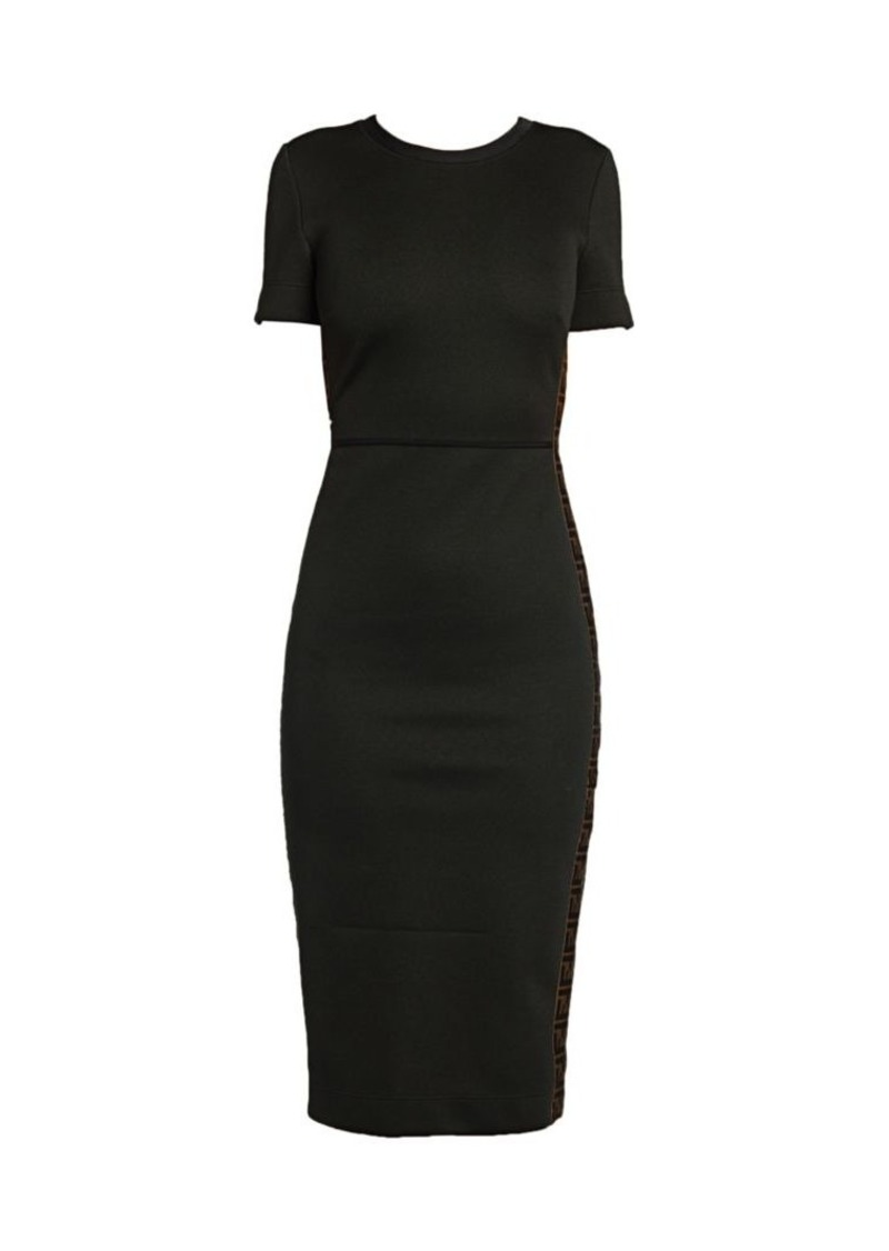 Fendi Logo Trim Pique Jersey Sheath Dress