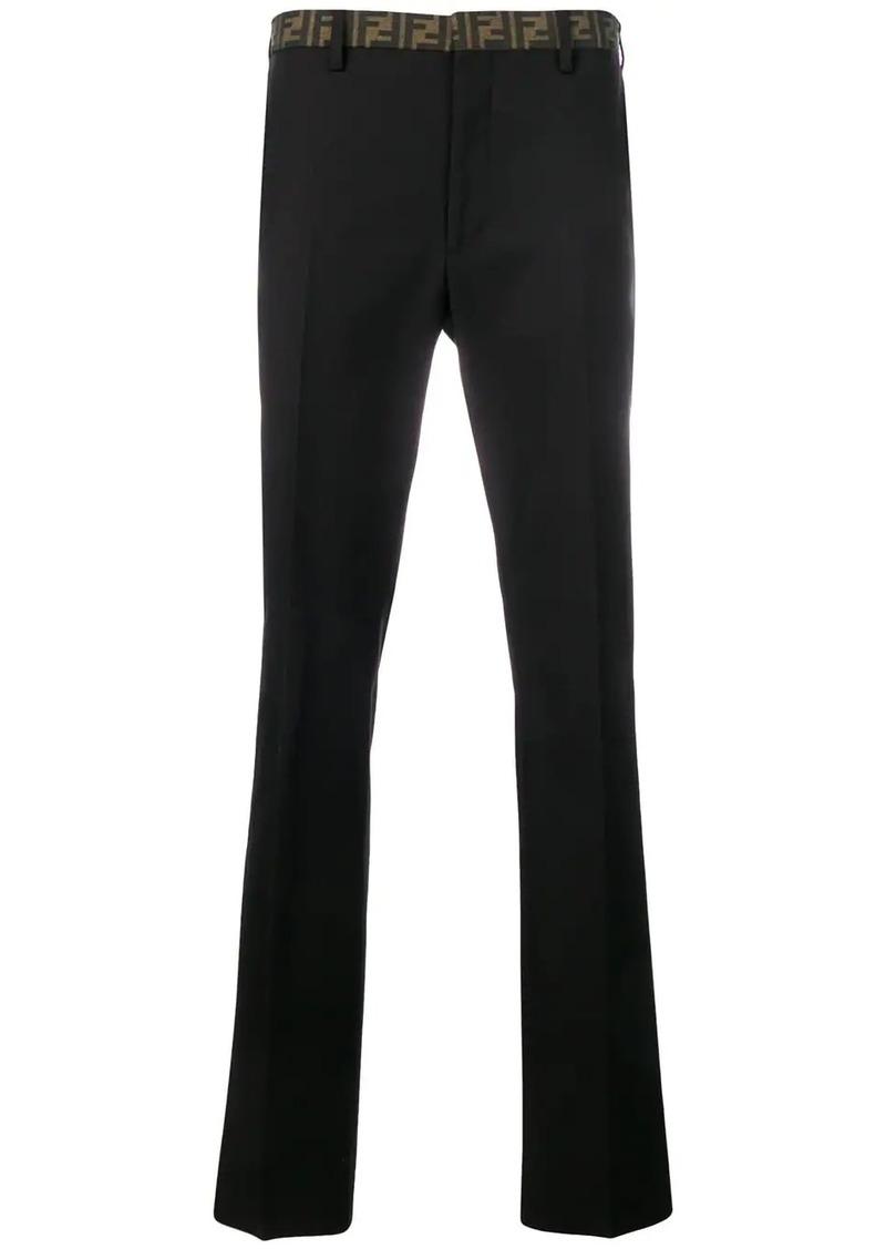 Fendi logo trim trousers