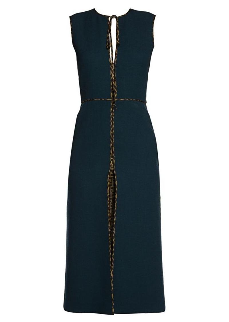 Fendi Logo Trim Wool Crepe Sheath Dress