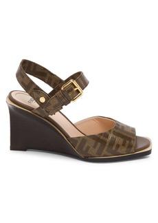 Fendi Logo Wedge Sandals