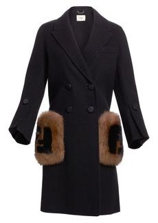 Fendi Long-Sleeve Fox Fur-Trim Pocket Logo Coat