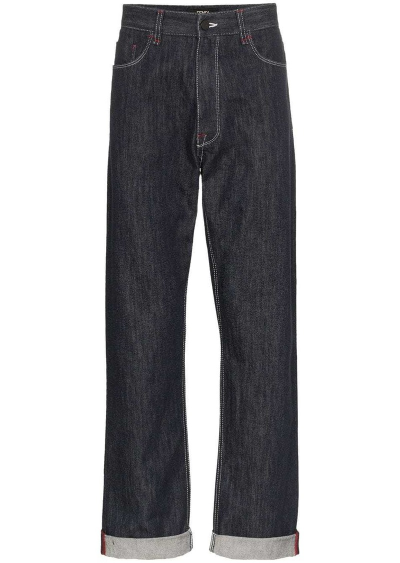 Fendi Mania logo print straight jeans