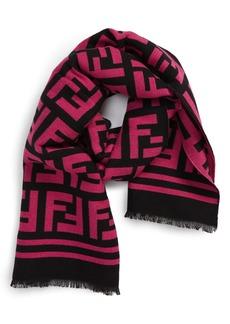 Men's Fendi Ff Logo Wool & Silk Scarf