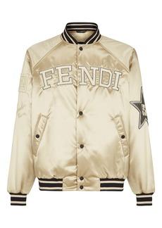 Men's Fendi Logo Satin Bomber Jacket