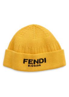 Men's Fendi Roma Logo Cotton & Cashmere Beanie - Yellow