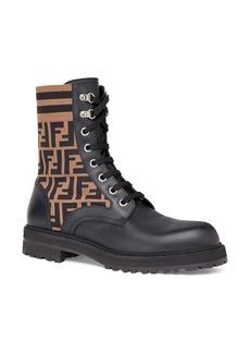 Men's Fendi Stivaletto Vitello Maglia Ff Motif Lace-Up Sock Boot