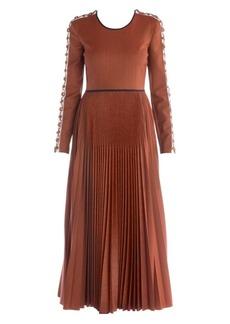 Fendi Micro Pied De Poule Pleated Maxi Dress