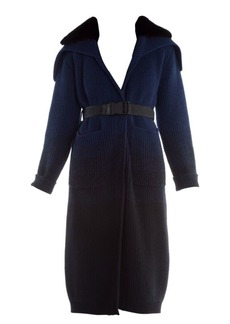 Fendi Mink Collar Ombré Cashmere & Wool Duster Cardigan