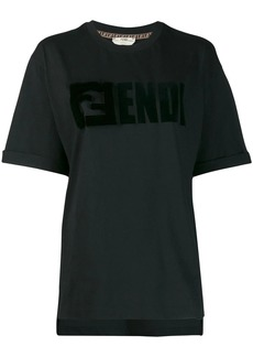 Fendi mink fur detailed logo T-shirt