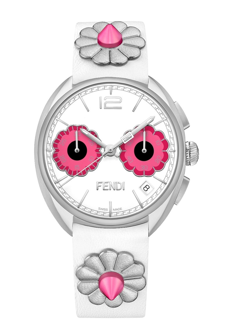 Fendi Women's Momento Floral Chronograph Leather Strap Watch, 40mm