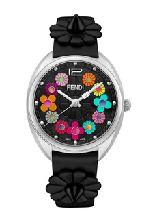 Fendi Women's Momento Floral Leather Strap Watch, 34mm