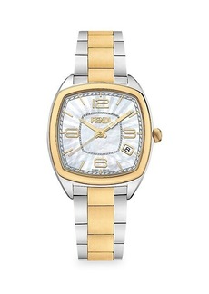Fendi Momento Two-Tone Goldplated Stainless Steel Bracelet Watch