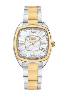 Fendi Momento Two-Tone Stainless Steel, Mother-Of-Pearl & Diamond Bracelet Watch
