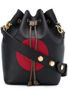 Fendi black, red and brown Mon Tresor bucket bag