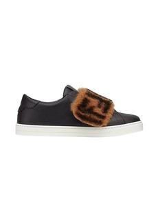 Fendi monogram fur panel sneakers