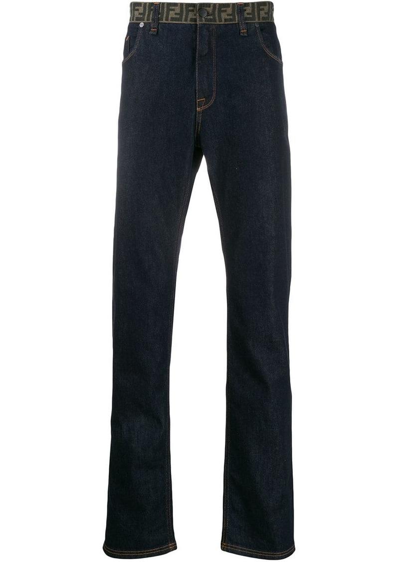 Fendi monogram waist straight jeans