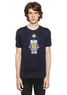 Fendi Monster Patch Cotton Jersey T-shirt