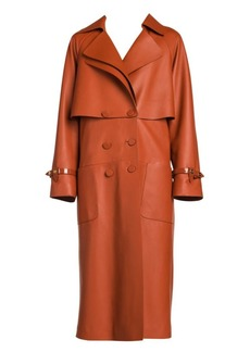 Fendi Nappa Leather Trench Coat with Back Zip