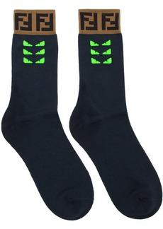 Fendi Navy & Green Bag Bugs Socks