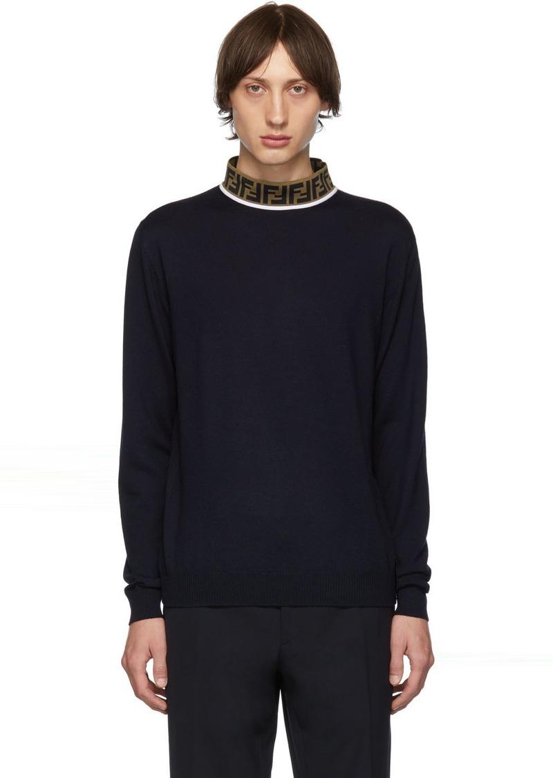 Navy 'Forever Fendi' Knit Merino Sweater