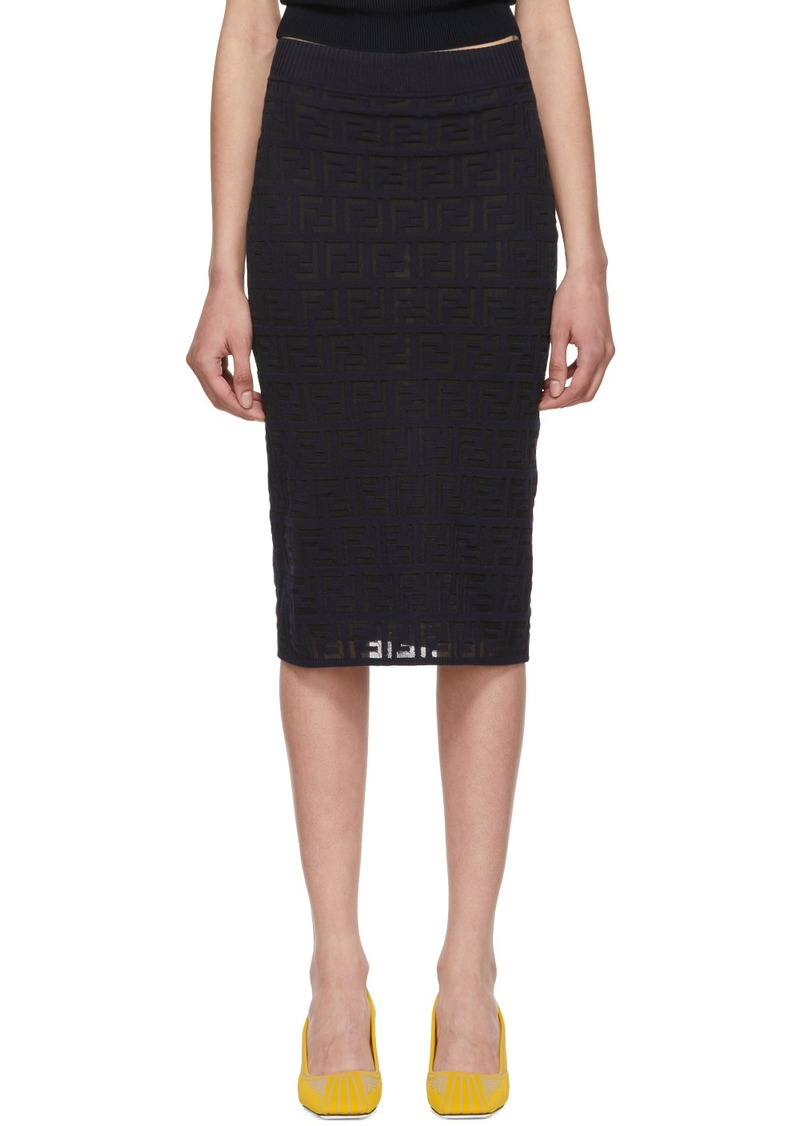 Navy Knit 'Forever Fendi' Pencil Skirt