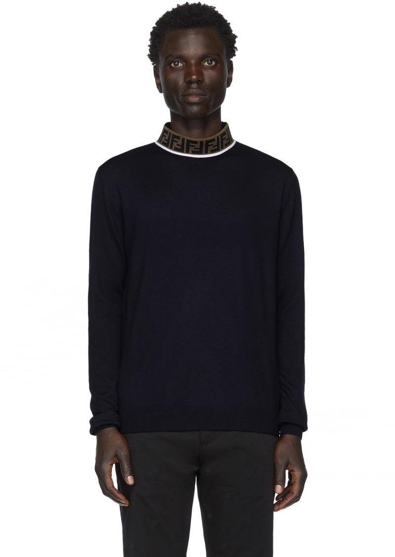 Fendi Navy Wool Mock Neck Sweater