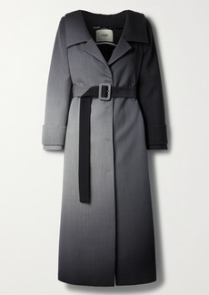 Fendi Off-the-shoulder Belted Ombre Wool Coat