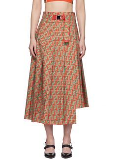 Orange & Blue 'Forever Fendi' Cotton Pleated Skirt
