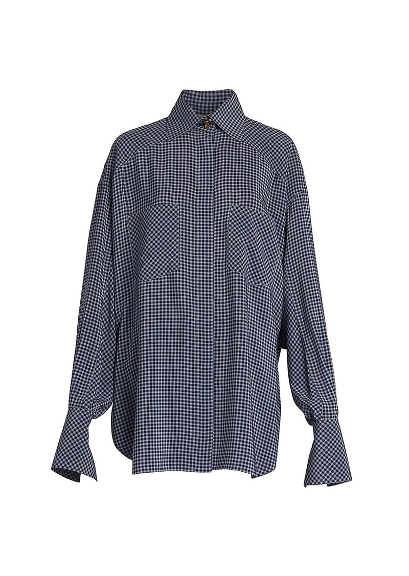Fendi Oversized Check Silk Blouse