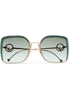 Fendi Oversized square-frame acetate and gold-tone sunglasses