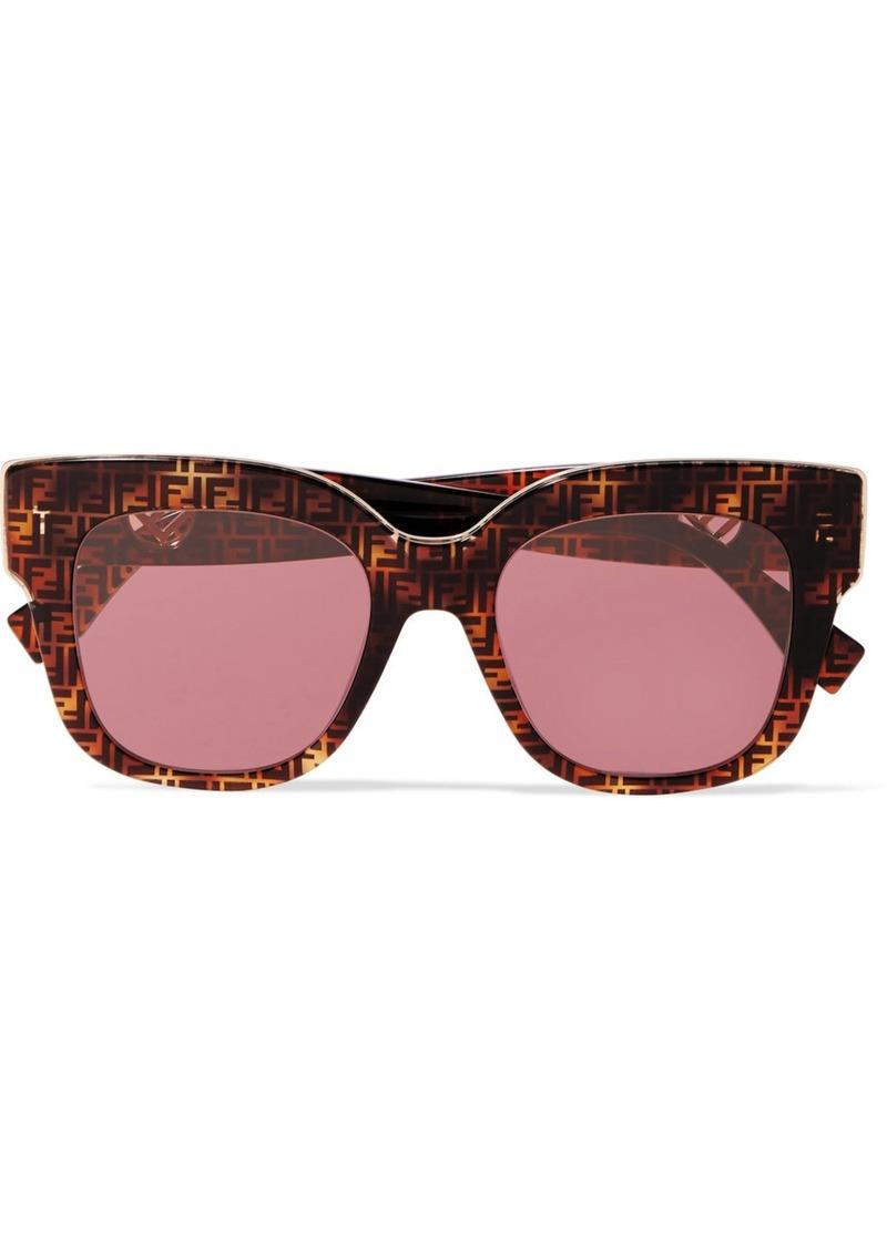 Oversized Square-frame Printed Tortoiseshell Acetate Sunglasses