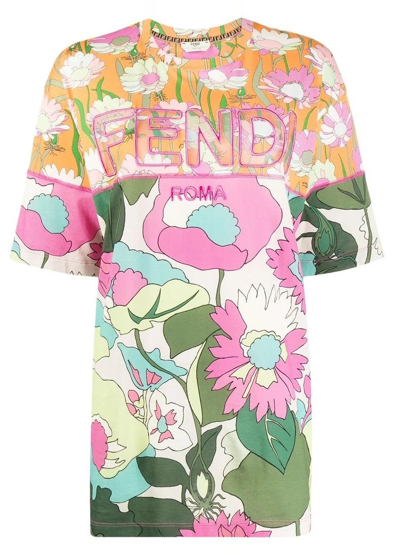 Fendi panelled floral-print T-shirt