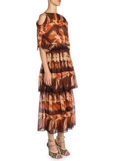 Fendi Parakeet Print Tiered Georgette Dress