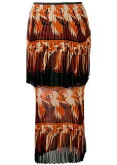 Fendi parrot motif layered skirt