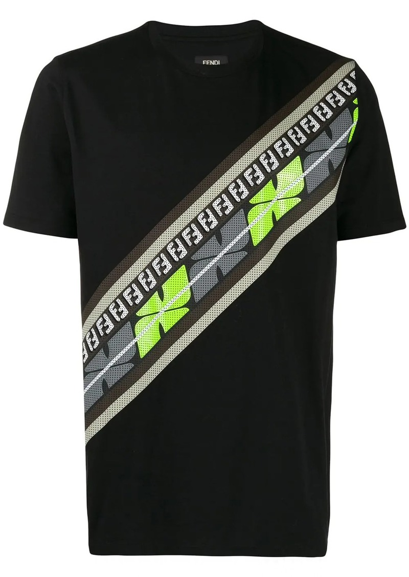 Fendi perforated logo stripe T-shirt