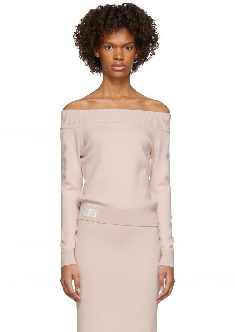 Pink 'Forever Fendi' Off-The-Shoulder Sweater