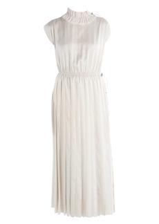 Fendi Pinstripe Cap Sleeve Satin Midi Dress