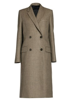 Fendi Pixel Wool Double-Breasted Coat with Silk Back Tie